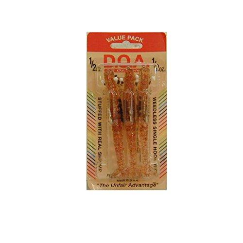 DOA FSH4-3P/368 Shrimp 1/2 OZ - 4in Clear/Red Glitter 3 Pack