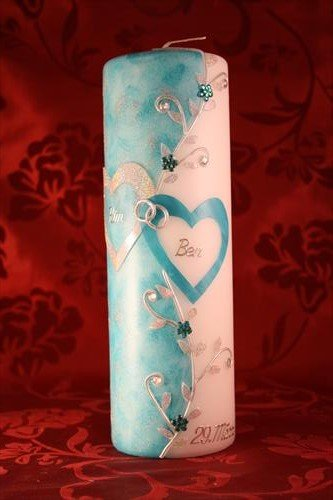 Hochzeitskerze mit Namen & Datum H-104t in verschiedenen Farben