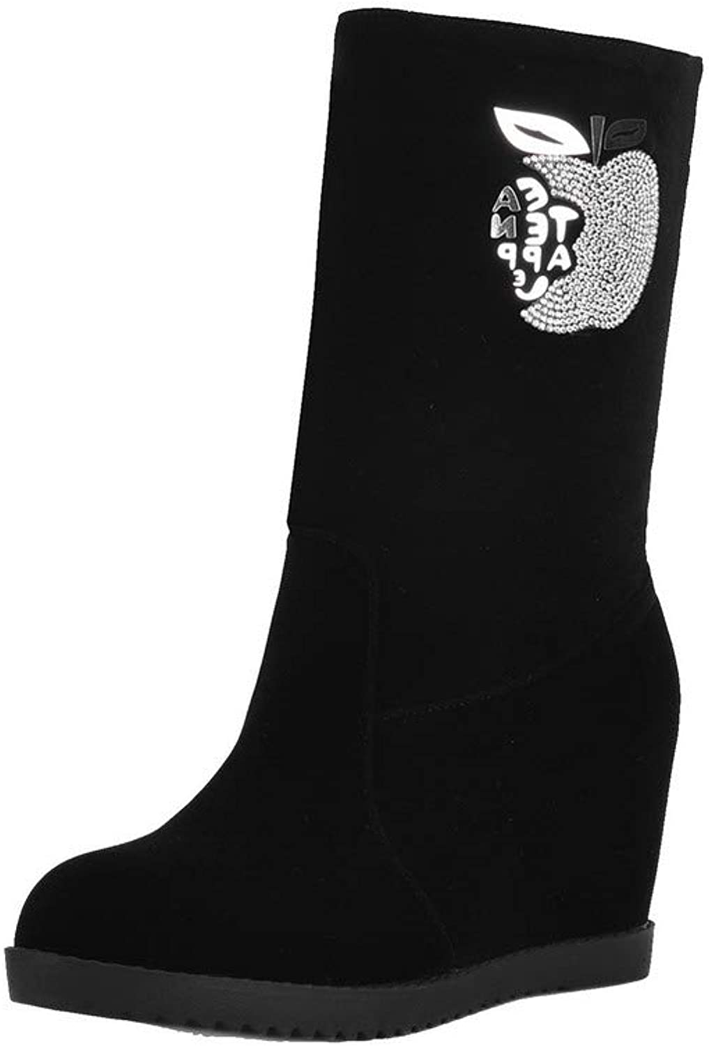WeiPoot Women's Kitten-Heels Frosted Low-Top Assorted color Pull-On Boots, EGHXH108850