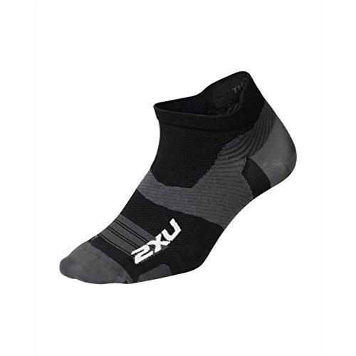 2XU Unisex's Vectr Ultralight Cushion No Show Socks, Black/Titanium, X-Large