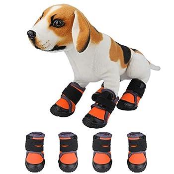 Fdit 4Pcs Chaussures à la Mode Chiot Grand Chien Antidérapant Sports de Plein Air Escalade Bottes Fournitures pour Animaux de Compagnie Petit Moyen Grand Chiens(60-Orange)