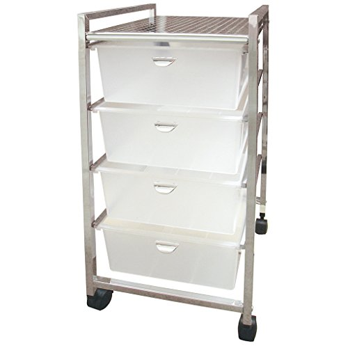 Laroom Carrito Ancho 4 cajones, Chrome Acero Inoxidable Structure y PP Drawers, Blanco