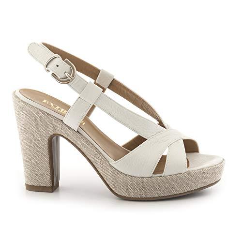 Extreme sandalen, wit en beige, met hoge hak, 2501 Focus wit, maat