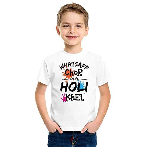 Print Holi T-Shirt for Kids Printed Whatsapp Chor Round Neck Matte Tshirts All Aizes (12-13 Years) White