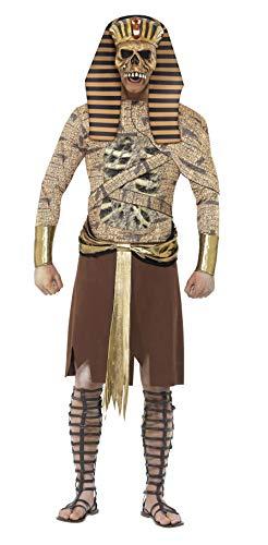 Smiffys Costume Pharaon zombie, Doré, avec tunique, manchettes et tiare