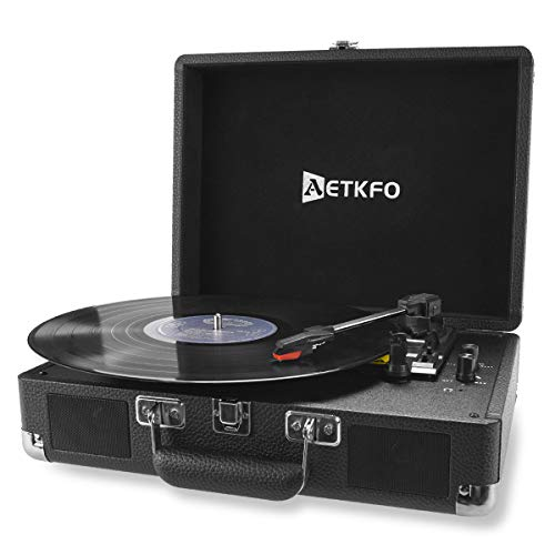 Plattenspieler , AETKFO Bluetooth Plattenspieler 3-Gang Vinyl Plattenspieler mit Lautsprecher, Unterstützung Aufnahme Vinyl, Cinch & USB Ausgang / AUX-In / Kopfhöreranschluss, Koffer Design (schwarz)