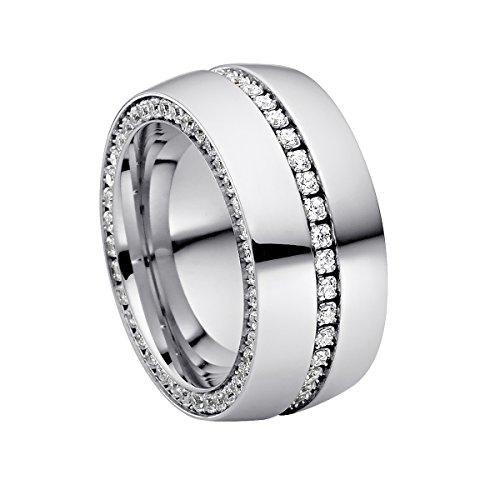 Heideman anillos mujer de acero inoxidable color plata 925 pulida anillo mujer con piedra blanco