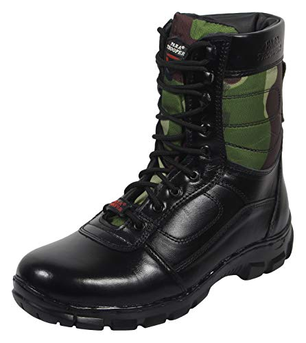 PARA TROOPER Men's Black and Green Leather Combat Boots - 10 UK