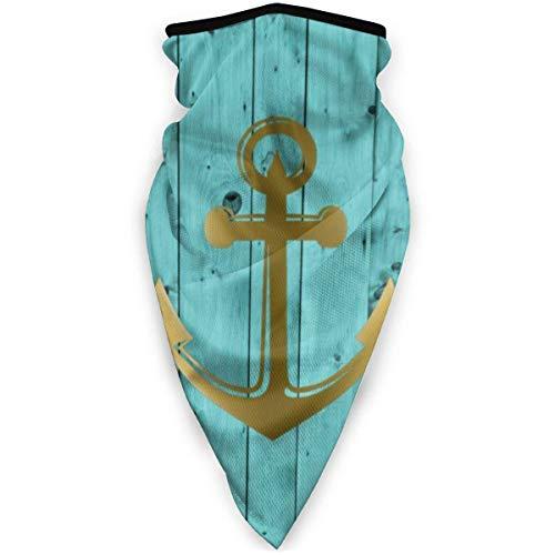 Magia Headwear - Pañuelo unisex con ancla náutica, color azul turquesa y dorado