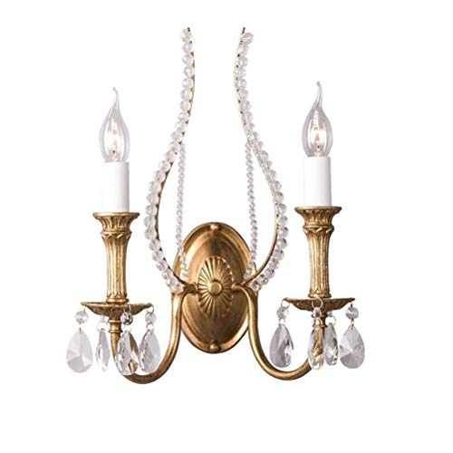 UWY Lámpara de Pared clásica con Forma de Vela, lámpara de Pared de Metal Antiguo con Gotas de Cristal Transparente, lámpara de Dormitorio E14 de diseño rústico Shabby Chic para la Sala de Estar