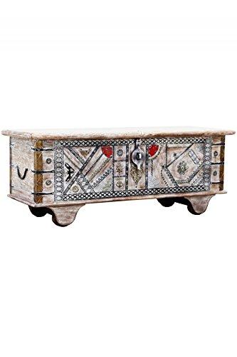 Orientalische Truhe Kiste aus Holz Chadijah 116cm groß | Vintage Sitzbank mit Aufbewahrung für den Flur | Aufbewahrungsbox mit Deckel im Bad | Betttruhe als Kissenbox oder Deko im Schlafzimmer - 2