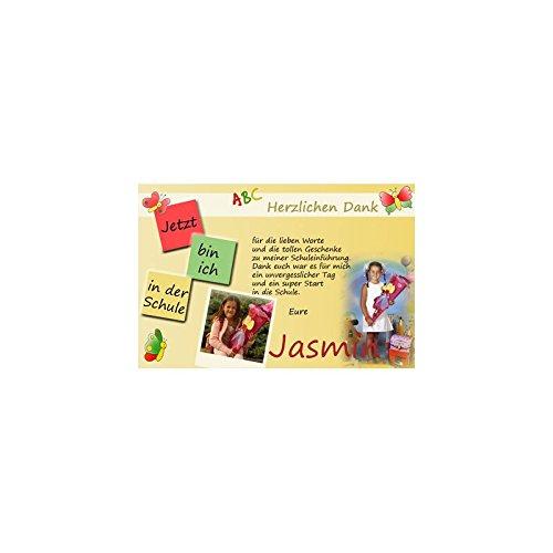 15 Individuelle Fotokarten als Dankeskarten zur Einschulung, Danksagung ESD09 , im Format 10x15 cm inkl. hochwertigem farbigen C6 Umschlag