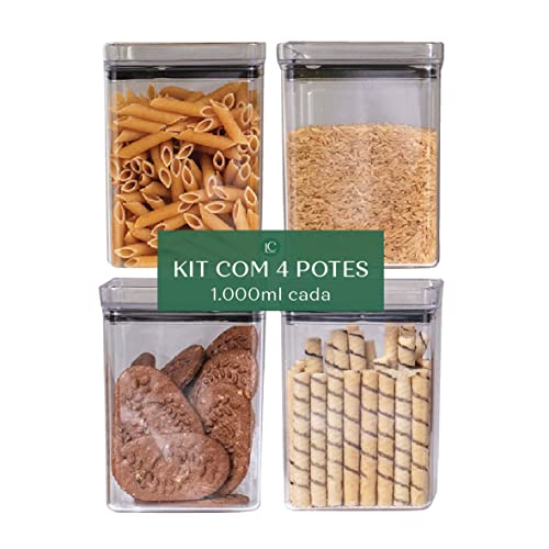 Kit Potes Herméticos Lumini Quadrados 1.000 ml, 4 Peças - Paramount…