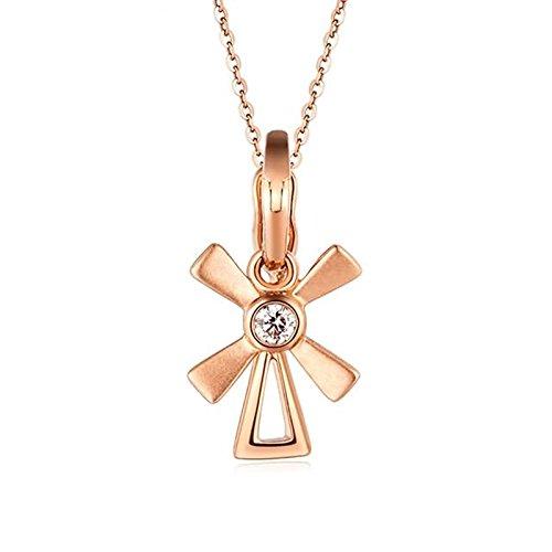 Beydodo 18 Karat (750) Rotgold Damen Diamant Kette mit Anhänger Glück Windmühle Rosegold Halskette Frauen Valentinstag-Geschenk