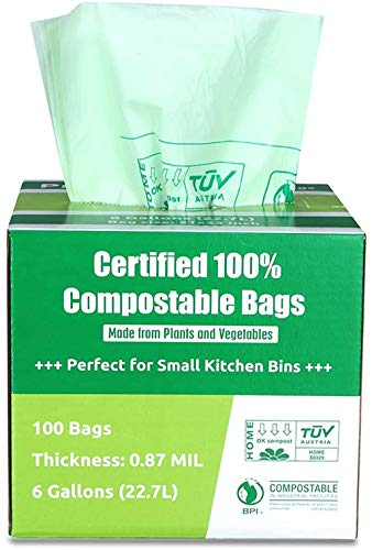 Primode 100% Compostable Bags, 6 Gallon Food Scraps Yard Waste Bags, 100 Count, Extra Thick 0.87 Mil. ASTMD6400 Compost Bags Small Kitchen Trash Bags, Certified by BPI and TUV,
