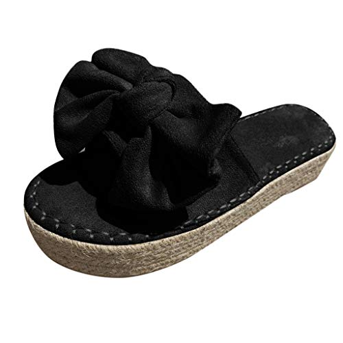 Dasongff Damen Sandaletten Pantoletten mit Plateau Schleifen Strandsandalen Sommer Sandalen Flache Espadrille Sandaletten Peep Toe Wildleder Strand Hausschuhe Bequeme Modern