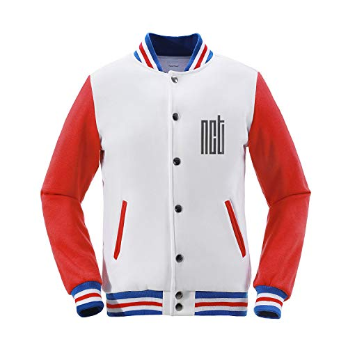 Fanstown Kpop NCT Baseball Jacket NCT U NCT 127 NCT Dream White red Jacket menber Name and Birth Year with pin Button Badge