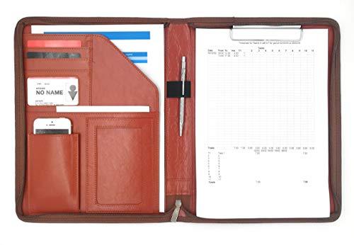 MT's SHOP クリップボード A4 PUレザー 多機能 フォルダ 二つ折り オーガナイザー OF273 (茶色)