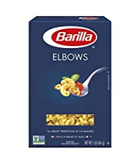 "ELBOW PASTA: Elbows, gomiti or chifferi in Italian, are a pasta named for its twisted tubular shape that can vary in size and be either smooth or ridged BARILLA PASTA: Made with 100% durum wheat and water to deliver great taste and ""al dente"" texture..."