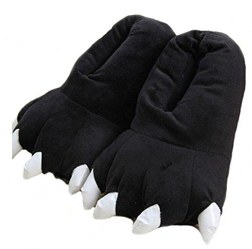 LANFIRE Zapatillas de casa de Felpa Suave Unisex Animal Disfraz de Pata de Garra (L (40-44 /EUR), Negro(Black))