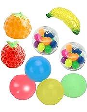 AWOME Stressbollar Leksaker, Handövning Stressavlastningskulor, 9st Sticky Wall Balls Dekompressionsleksaker Klämning av frukt Sticky Balls Dekompressionsleksaker för vuxna barn