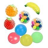 Dan&Dre 9 bolas adhesivas de pared para descompresión, juguetes para exprimir frutas pegajosas, juguetes de descompresión para adultos y niños