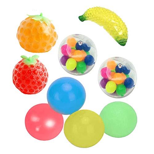 OUTEYE Sticky Globbles Ball Stress Toy, 9Pcs Exprimiendo Frutas Sticky Balls Descompresión Juguetes para Adultos Niños