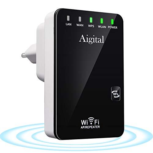 Aigital WLAN Repeater WLAN Verstärker WiFi Signal Booster 300Mbit/s 2,4GHz Wireless Range Extender mit 2 * Ethernet Ports, WPS Taste, mit RJ45 Netzwerkkabel, Kompatibel zu Allen WLAN Geräten