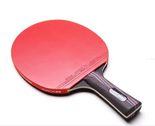 ZJH Raqueta de Tenis de Mesa de Fibra de Carbono, Madera de wengué de 5 Capas + Paleta de Ping Pong de Fibra de Carbono de 2 Capas, competición y Entrenamiento,Longhandle
