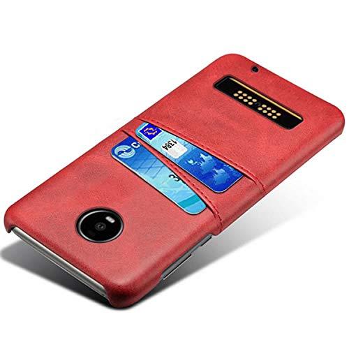 HualuBro Handyhülle für Moto Z4 Play Hülle, Premium PU Leder Ultra Slim Tasche Cover Stoßfest Bumper Hülle Schutzhülle Lederhülle Backcover für Motorola Moto Z4 / Moto Z4 Play (Rot)