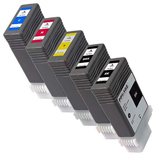 PFI-102(MBK/BK/C/M/Y)【5色セット】 CANON互換インク 残量表示あり 最新ICチップ搭載 国内梱包検品済み 【Enk】製 対応機種: iPF700 iPF720 iPF750 iPF605 iPF610 iPF650など