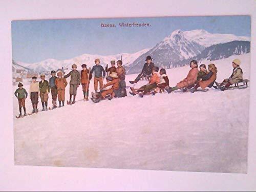 Davos, Schweiz. Winterfreuden. Kinder. Schlitten. AK.