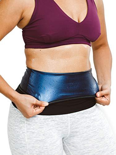 Sweat Shaper Waist Trimmer for Women, Waist Trainer Sauna Belt, Neoprene-Free Waist Cincher, Sauna Slimming Belt (Black, Large)