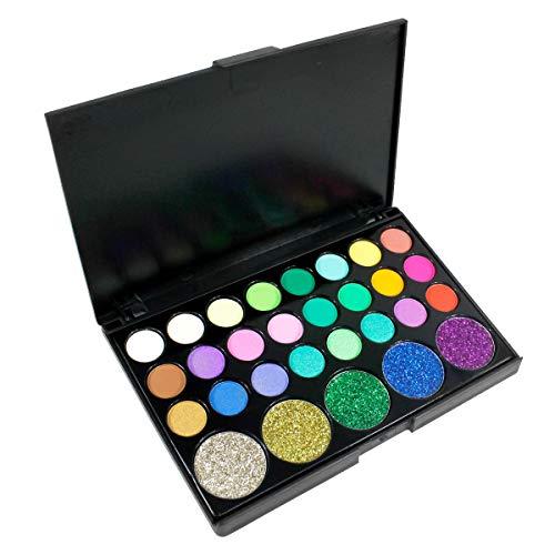Lidschatten, 29 Farben Imprägniern Hohes Pigmentiertes Langlebiges Auge Bilden Ausrüstung, Süßigkeit Tönen Funkelnde Glänzende Helle Farben Augenschminke-Make-up Box für Stadiums Catwalk Show