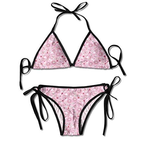Triángulo Bikini Trajes de baño Floral con Mariposas Detalles románticos de Estilo Dibujado a Mano Conjuntos de Bikini Traje de baño de Playa Traje de baño