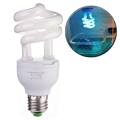 Bulary - Lampada per tartarughe, compatta, fluorescente, per illuminazione di terrari, fonte di calcio per rettili, UVB 5.0 UVB 10.0 13 W, attacco E27