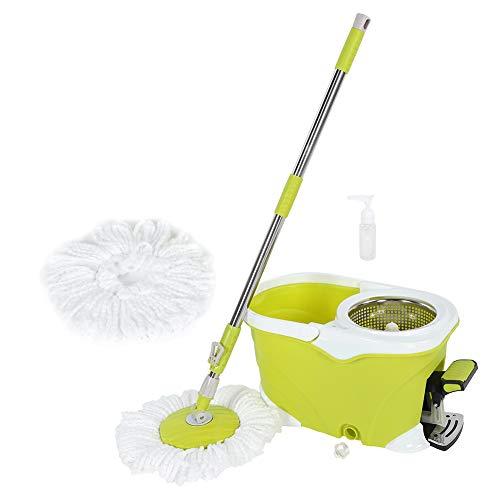 Cocoarm vloerwisser set met mop en roterende emmer mop met emmer dweilmop Clean complete set voetbediening kop 2 x katoen