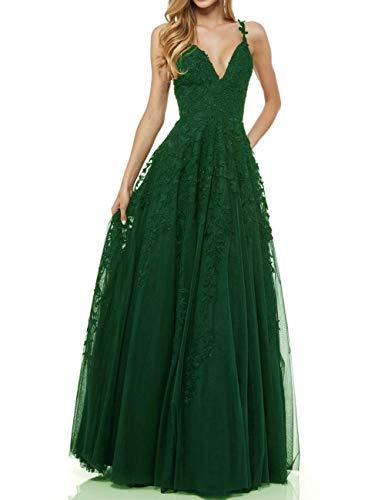 R&Bwedding Damen Abendkleider Ballkleid Sexy V-Ausschnitt Elegant Lang Hochzeit Spitzen Abendkleid (Smaragdgrün,42)