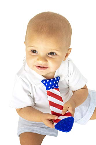 First Wearable Baby Teething Tie! #1 Baby Boy Gift/Toy, Baby bib tie, Baby Teether, Stocking Stuffer (American Flag)