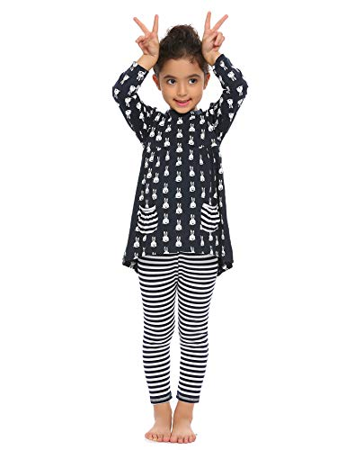 Arshiner Little Girls Long Sleeve Cute Rabbit Print with Pockets Cotton Outfit 12 pcs Pants Sets Top+Legging,Navy Blue,130(7-8years old)