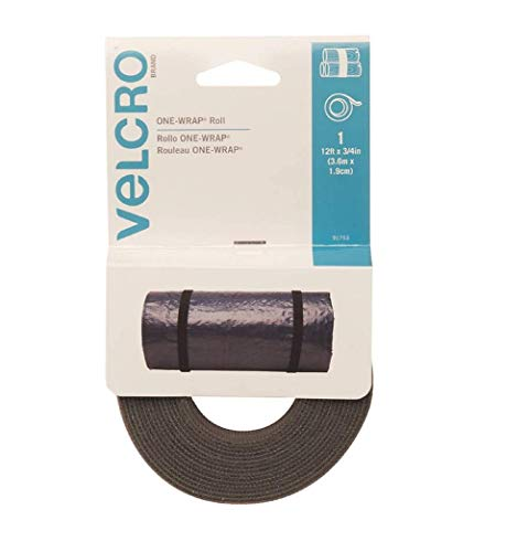 """VELCRO Brand - ONE-WRAP Roll, Double-Sided, Self Gripping Multi-Purpose Hook and Loop Tape, Reusable, 12' x 3/4"""" Roll - Foliage"""