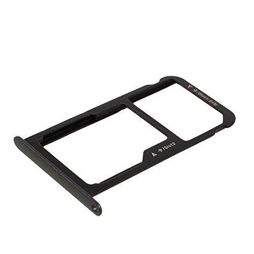 jbTec SD-Card/SIM-Tray/Halter passend für Huawei P9 Lite - Slot Karte Schlitten Rahmen Holder Handy Card Ersatz Fach, Farbe:Schwarz