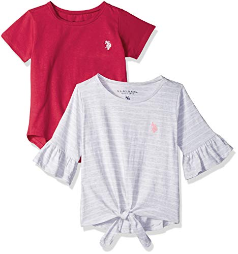 U.S. Polo Assn. Girls' Big 2 Pack T-Shirt, Candy Apple red Solid Fuchsia Multi, 7/8