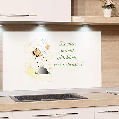 GRAZDesign Küchenrückwand Glasbild Spritzschutz Küche - Edler Kunstdruck hinter Glas Bild Motiv Koch mit Spruch Glasplatte Küchenzeilen abdecken / 100x60cm