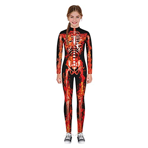Moneycom❤ Niños adolescentes y niñas de Halloween Cartoon Skull Print Romper Ropa Cumpleaños Boda y Partes rojo 13- 14 años