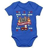 Shirtracer Feuerwehr Baby - Papa du schaffst das - Feuerwehr - weiß - 12/18 Monate - Royalblau - Feuerwehr Baby Strampler - BZ10 - Baby Body Kurzarm für Jungen und Mädchen