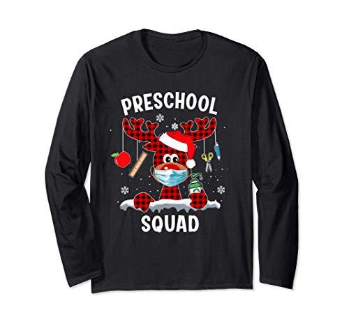 Preschool Teacher Christmas 2020 Squad Reindeer Mask Family Long Sleeve T-Shirt