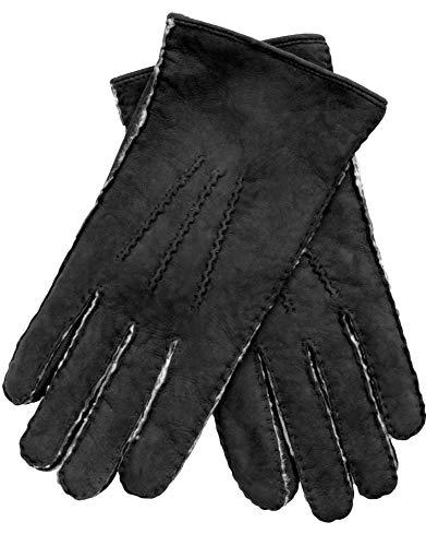 EEM Herren Handschuhe LIAM aus weichem Neuseeland Curly Lammfell, handgenäht, schwarz, L