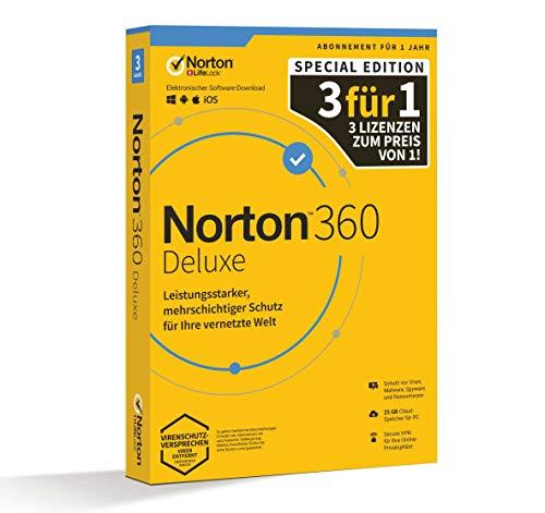 Symantec Norton 360 Deluxe 1 User (3 dispositivi) / 1 Jahr 25GB Promo Piattaforma di Sicurezza Cloud