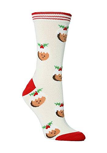 Festive Feet Damen Socken mehrfarbig mehrfarbig Medium Gr. Medium, Cream Christmas Puddings